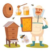 Stock Illustration of Apiary beekeeper vector illustrations