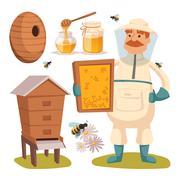 Apiary beekeeper vector illustrations Stock Illustration