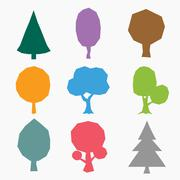 Stock Illustration of Stylized vector tree collection