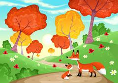 Stock Illustration of Landscape with family of foxes.