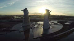 Aerial shot of the Kelpies horse heads at the Helix park Stock Footage