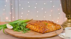 Pie and greenery Stock Footage