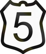 Sign of the National Road 5 in Cambodia Stock Illustration