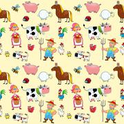 Stock Illustration of Funny farm animals with background.