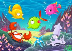 Funny happy animals under the sea. - stock illustration