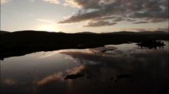 Aerial shot over Rannoch moor in Scotland - stock footage