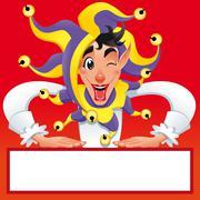 Stock Illustration of Funny Jocker smiling with white frame.