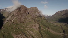 Aerial shot of the 3 sisters mountains in Glencoe Stock Footage