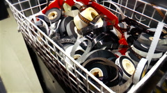 Rolls of 35mm and 16mm film in a trolley Stock Footage