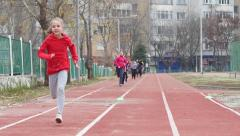 Sports club for children - kids cross running exercise in slow motion - stock footage