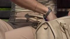 Woman Sitting with Purse Stock Footage