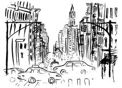 Street of New York Stock Illustration