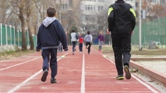 Sports club for children - kids running exercise in slow motion - stock footage