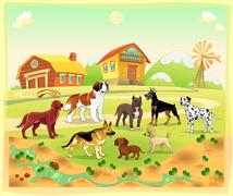 Landscape with group of dogs - stock illustration