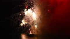 Fireworks bursting from a raft Stock Footage