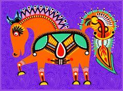 decorative ethnic folk animals in Ukrainian traditional karakoko - stock illustration