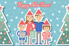Happy family with Christmas gifts in hands. - stock illustration