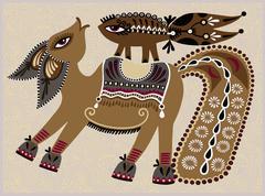 Ukrainian tribal ethnic painting, unusual horse Stock Illustration