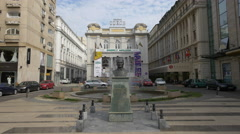 Ataturk's statue in front of the Odeon Theatre in Bucharest Stock Footage