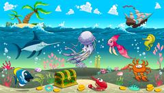 Stock Illustration of Funny scene under the sea.