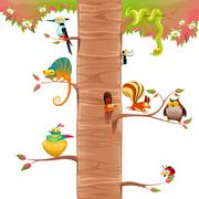 Stock Illustration of Funny animals on branches with white background.