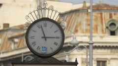 A beautifully decorated clock on Victory Avenue in Bucharest Stock Footage
