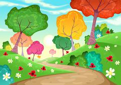 Stock Illustration of Landscape with multi-colored trees.