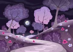 Stock Illustration of Landscape with trees and path in the night.