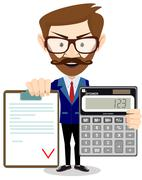 Man showing a calculator and the agreement Stock Illustration