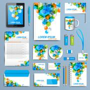 Stock Illustration of Set of vector corporate identity template. Modern business stationery mock-up