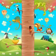 Stock Illustration of Funny animals on branches.