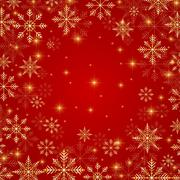 Christmas and New Years red background  with golden snowflakes. Vector - stock illustration