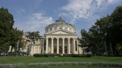 The Romanian Athenaeum facade with columns and dome in Bucharest - stock footage