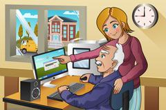 Girl Teaching Senior How to Use a Computer Stock Illustration