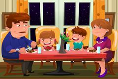 Family Eating Together Stock Illustration