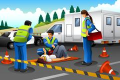 Paramedic Giving Help to an Injured Girl Stock Illustration