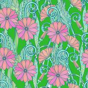 Seamless gerbera daisy flowers pattern or background Stock Illustration