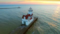 Amazing Harbor with Lighthouse at Sunrise, Aerial View Stock Footage