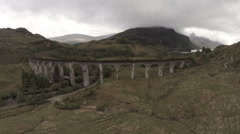 Aerial shot over Glenfinnan Viaduct in the Scottish Highlands Stock Footage