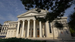 The Romanian Athenaeum with columns in Bucharest - stock footage