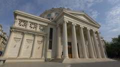 Stock Video Footage of Side view of the Romanian Athenaeum in Bucharest