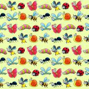 Stock Illustration of Funny insects with background.