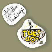 The Sticker Collection - The Tea Days: Tuesday - stock illustration