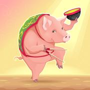 Funny pig with soup bowl and chinese sticks. - stock illustration