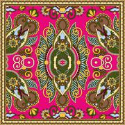 authentic silk neck scarf or kerchief square pattern design in u - stock illustration