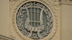 Stock Video Footage of Harp in a circle on the Romanian Athenaeum building in Bucharest