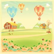 Funny landscape with farm and hot air baloons - stock illustration