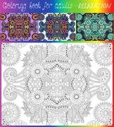 unique coloring book page for adults - flower paisley design, jo - stock illustration