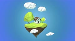 Floating island with house and clouds in the sky Stock Footage