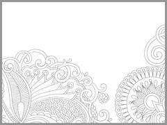 unique coloring book page for adults - flower paisley design - stock illustration